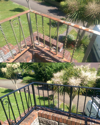Painting railings in Liskeard