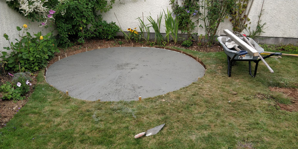 Concrete patio base