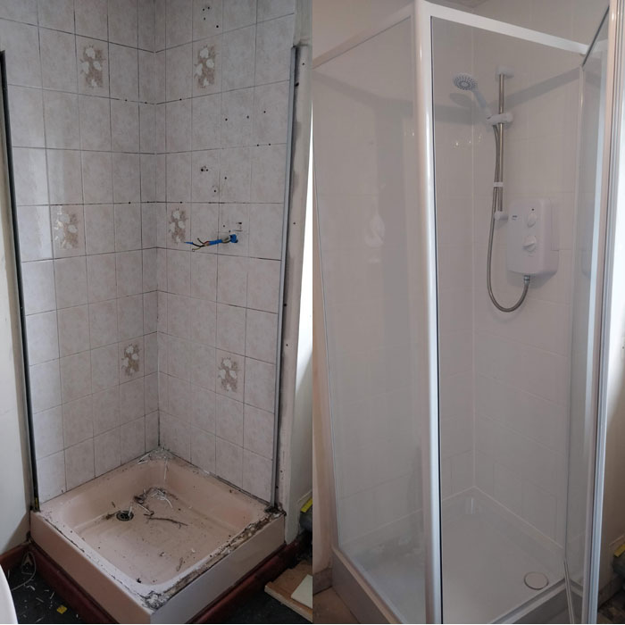 New shower installation