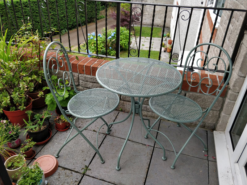 Painted garden table and chairs