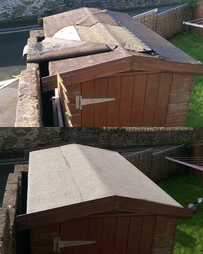 repairing shed roofing felt about roof. Black Bedroom Furniture Sets. Home Design Ideas